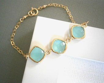 Mint Aqua Bracelet, Gold Bracelet, Bridesmaid Bracelet, Best Friend Birthday, Aqua Necklace, Gold Necklace
