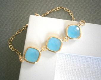 Aqua Blue Bracelet, Gold Bracelet, Bridesmaid Bracelet, Wedding Jewelry, Mother, Best Friend Birthday, Anniversary