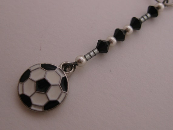 Enamel Soccer Ball Charm for Cell Phone, Flash Drive, Camera, Zipper Pull - Pewter Sports Charm, Swarovski Crystals & Sterling Silver Beads