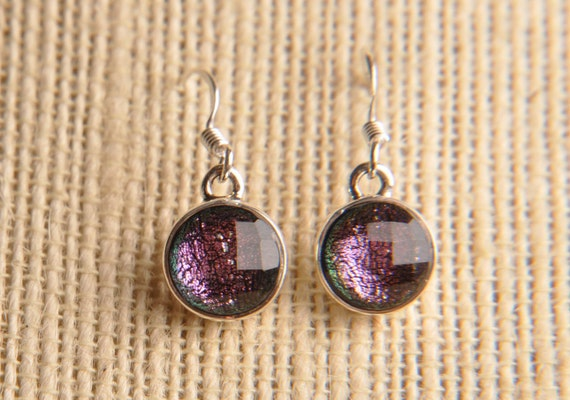 CoLoR ChAnGiNg Handmade Dichroic Glass Earrings Sterling Silver .925 ...ON SALE...