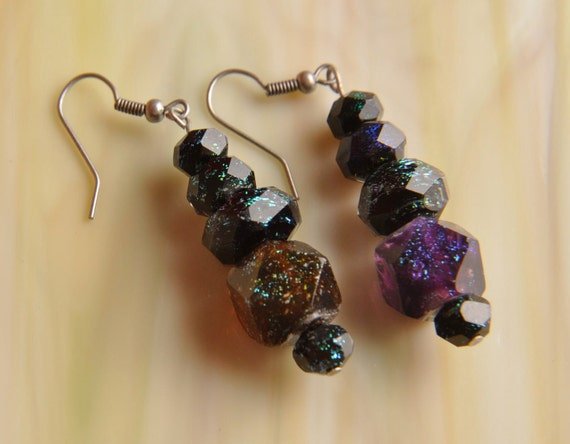 SPECIAL Handmade Dichroic Glass Earrings Antique Silver ...free ship...
