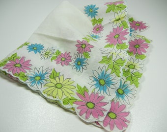 Vintage Hankie with scalloped border / Floral cotton / Blue Pink Green Yellow on white / Hanky / wedding / something blue