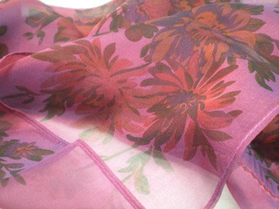 Ladies Scarf in wine and violet hues, Ralph Lauren designer scarf or handkerchief