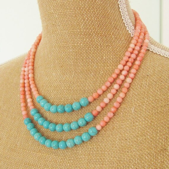 Color Block Necklace Turquoise Howlite and Pink Coral Statement Triple Multi Strand - Preppy, Beach, Boho