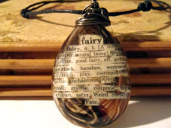 Fairy Feather Book Page Word Pendant Nature Necklace Supernatural Spirit Elf Witch Weird Fate Mermaid Brown Tan Black Large Bohemian Jewelry