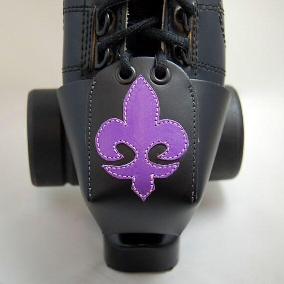 Leather Toe Guards with Purple Fleur de Lis
