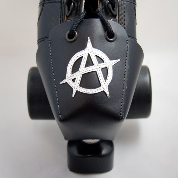 DA-45 Leather Toe Guards with White Anarchy Symbols