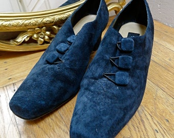 Vintage 90s American Eagle Navy Blue Suede Grunge Granny Chunky Heel Shoe (sz 7.5 M)