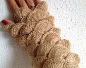 Fall Season New Beige Cream  Ivorry Nude French Vanilla Fingerless Gloves Armwarmers