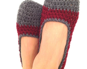 Burgundy Maroon Bordeaux Wine Grey Crochet Womens Slippers, Ballet Flats, House Shoes