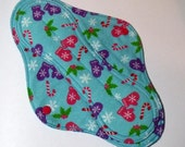 Menstrual Pad Mama Pad Mama Cloth Reusable Sanitary Pad  purple pink winter mittens on turquoise aqua- size L/L PLUS  SALE