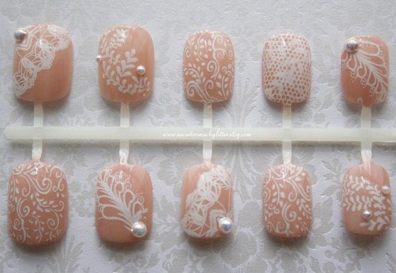 White Chantilly Lace (Active Petite Length). Wedding, Pearl, Lace, Bridal Fake Nails, Weddings, Wedding Fake Nails, Short Fake Nails, Nails