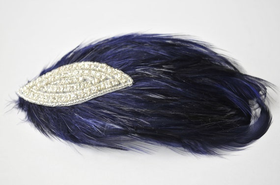 Navy Vintage-Inspired Feather Headpiece, Bridal Hair Accessories