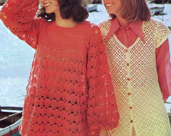 INSTANT DOWNLOAD PDF Vintage Crochet Pattern   1970s Lacy Smock Tunic and Cap Sleeved Vest Waistcoat Retro
