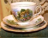 Lovely royal Vale Bone China Teacup Saucer With Cake or Bread Plate England English Cottage