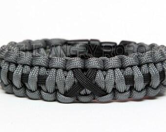 Paracord Bracelet Cobra Thin Line Ribbon - Grey with Black