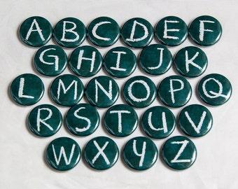 Chalkboard Alphabet Letters - Set of 26 Pinback Buttons Badges 1 inch