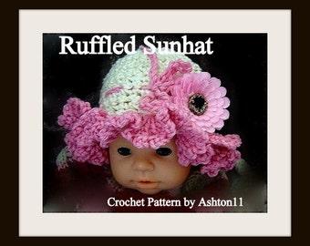 INSTANT DOWNLOAD Crochet Pattern PDF 51 - Crochet Baby Ruffled Sun Hat Pattern - Pattern by Ashton11