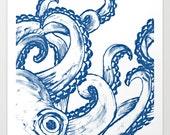 Octopus Fine Art Print Illustration Blue White 8x8 Giclee Unframed Navy Kraken Nautical Beach Ocean Sea Life Limited Edition
