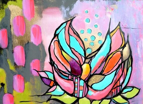 lotus no. 3... original mixed media art.
