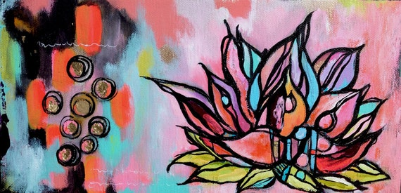 SALE - lotus no. 2... original mixed media art.