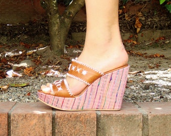 SALE -- Italian mirror colorful weave wedges - Made in Italy - ( Sz 7.5 US, 38 EU )