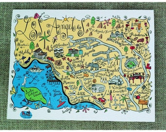 Los Angeles Metropolitan Area Map Full Color Note Card