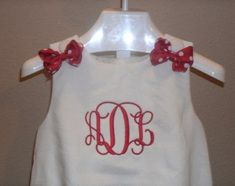 Boutique Infant or Toddler white Pique  Bubble Romper with bows Monogrammed Personalized