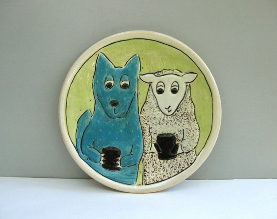 Texting Animals Plate, Wolf and Sheep, Small, Blue And Green