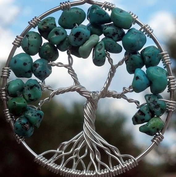 CA Turquoise Tree of Life Pendant - Recycled Sterling Silver