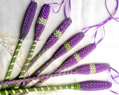 Organic French Lavender Wand Woven Sachet Long Purple and Green Ribbon extra long