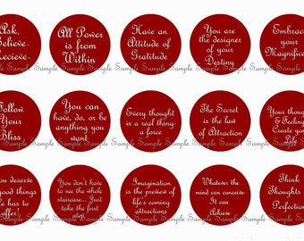 INSTANT DOWNLOAD...The Secret Inspired...... Inspirational Quotes...1 Inch Circle Image Collage for Bottle Caps...Buy 3 get 1