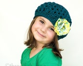 Girl Beret - Wool Beret - Girl Winter Hat - Fall Hat - Teal Teatime Beret with Flower Clip - Size 3