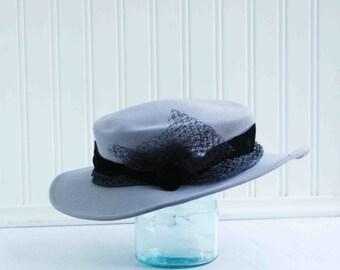Vintage Grey Felt Fedora Wool HAT for Her Lady Stetson Mary Poppins Costume Black Velvet Ribbon Winter