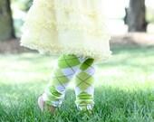 Lime Green Argyle Baby Toddler Leg Warmers FREE SHIPPING