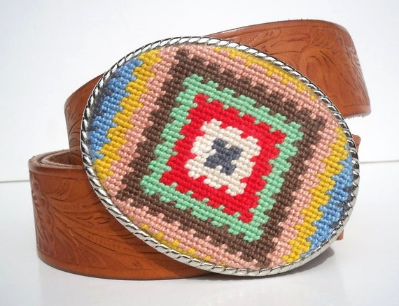Needlepoint Granny Square Inspired Belt Buckle