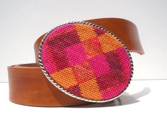 CLEARANCE Needlepoint Geometric Pinks n Oranges Belt Buckle