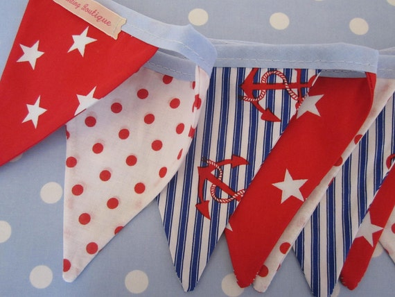 Small Classic Children's Bunting. Fabric Patterns - Stars, Spots and Anchors. Colours -  Red, Royal Blue and white.