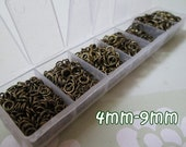 1 Box Mixed Antique Bronze Open Jump Rings 4-9mm Wholesale