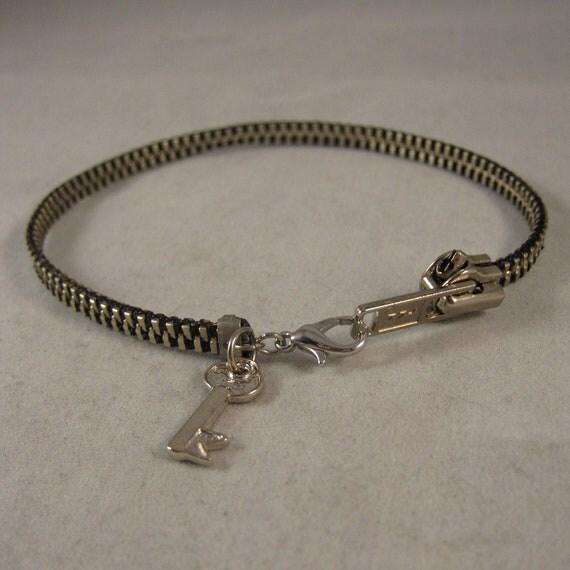SALE - CUSTOM Key Zipper Charm Bracelet