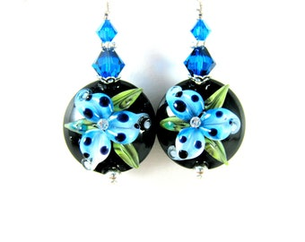 Blue Lily Earrings, Nature Earrings, Lampwork Earrings, Floral Earrings, Flower Earrings, Azure Blue Black Glass Earrings Botanical Earrings