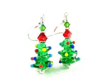 Christmas Tree Earrings, Christmas Earrings, Colorful Holiday Earrings, Lampwork Earrings, Holiday Jewelry, Christmas Jewelry Christmas Tree