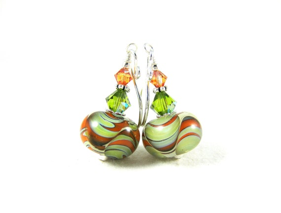 Green and Orange Earrings, Boro Earrings, Chartreuse Tangerine Earrings, Fall Earrings Autumn Earrings, Lampwork Earrings - Autumn Warmth