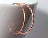 Copper Hoop Earrings, Small Twisted Reverse Hoops. Lightweight, Minimalist, and Modern Earrings