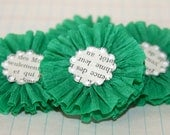 4 Green Crepe Paper Flowers w/Vintage French Text Centers