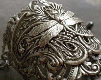 Statement Cuff Dragonfly Jewelry Art Nouveau Wide Silver  Bracelet