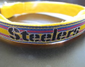 Pittsburgh Steelers Cat or Small Dog Collar with Yellow, Blue or Pink Backing