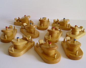 Buy 10- Pay for 9, Wooden Paddle Tug Boats, Rubber Band Powered Bathtub Wood Toy, Handmade Party Favor, Christmas, Jacobs Wooden Toys