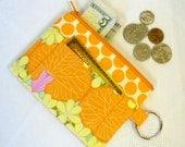 Amy Butler Fabric Zipper Coin Purse Card Slot Key Ring Fob Nouveau Trees Tangerine Orange Fabric Change Purse MTO