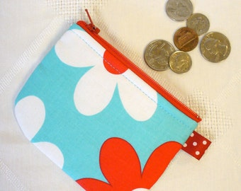 Mini Coin Purse Mini Change Purse Zipper Pouch Red Aqua Blue Michael Miller Lil Plain Jane Daisy MTO